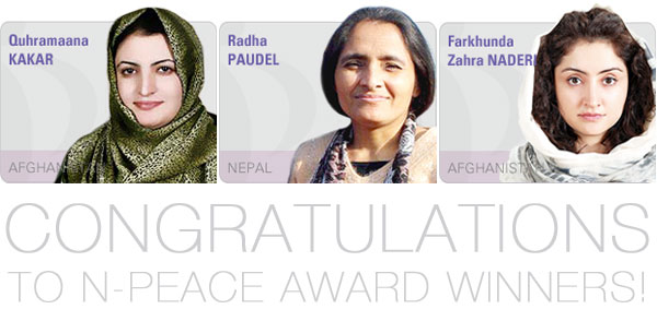 Three Women Waging Peace Network Members Win N-Peace Awards