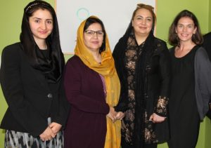 Women's role in peace and security ... (l-r) Farkhunda Zahra Naderi, Dr Gulalai Noor Safai and Shukria Barakzai with UNSW's Associate Professor Laura Shepherd