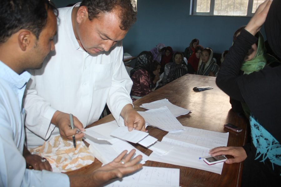 FZN with her team members preparing stickers , brochures  for distributing during Parliamentary Campaign,2010