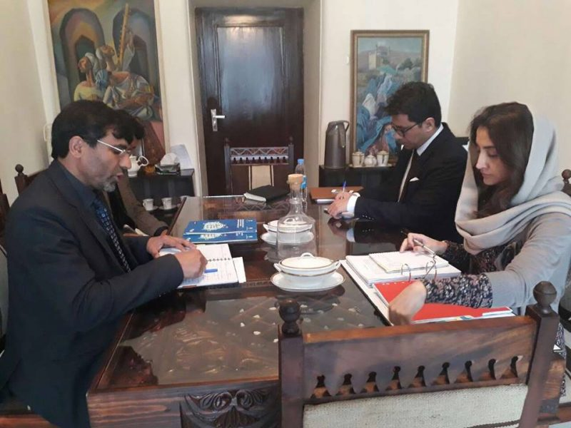 Farkhunda Zahra Naderi meeting with Abdul Khaliq Abbasi head of office of UNIDO